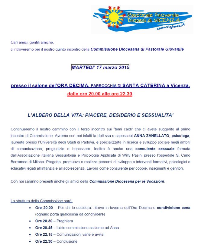 Commissione Diocesana di Pastorale Giovanile a Vicenza: L'albero della vita, piacere, desiderio e sessualità