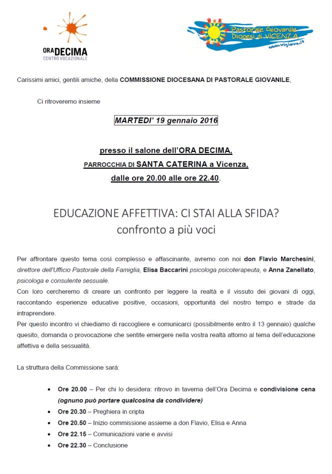 Commissione diocesana Pastorale Giovanile a Vicenza: Educazione Affettiva